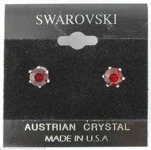 Genuine Swarovski Crystals 1 Carat 6mm Stud Earrings January Red Birthstone - $10.79