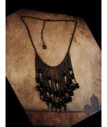 Dramatic Goth Fringe necklace - gunmetal chain - black tassel  beads - G... - $65.00