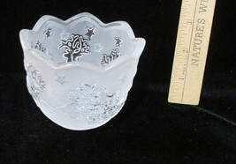 Candle Holder Frosted Santa Reindeer & Sleigh Christmas Glass Tea Light ... - $8.45