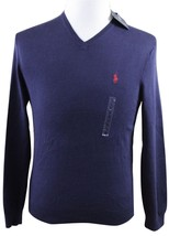 NWT Polo Ralph Lauren Pima Cotton V-Neck Sweater MENS SMALL Navy Blue - $59.99