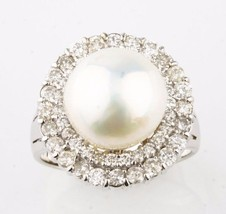 14k White Gold 11-12 mm Pearl Cocktail Ring w/ ... - $1,782.00