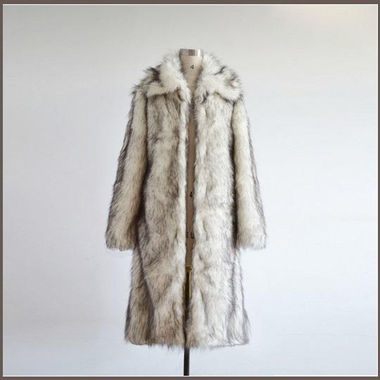 Mens Luxury Long Sleeve Dark Tipped Ivory Hair Artic Fox Faux Fur Long Coat