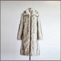 Mens Luxury Long Sleeve Dark Tipped Ivory Hair Artic Fox Faux Fur Long Coat  image 2