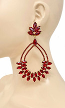 "4.75"" Long Statement Hoop Earrings Red Rhinestone Drag Queen,Pageant,Cas... - $22.23"