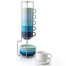 Sweese 404.003 Porcelain Stackable Espresso Cups with Saucers and Metal ... - $32.86