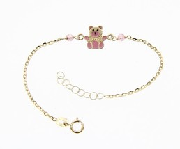 18 KT YELLOW GOLD BRACELET FOR KIDS WITH GLAZED BEAR PUPPY MADE IN ITALY 5.5 IN image 1
