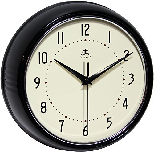 Primary image for Infinity Instruments Round Retro Wall Clock, Black