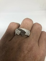 Vintage Garnet White Sapphire Deco Band Ring 925 Sterling Silver Size 6 - $107.00