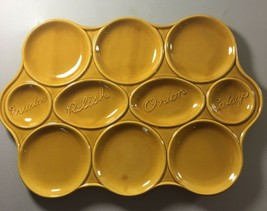 USA Pottery Mustard Yellow Hamburger Serving Platter Tray Plate Condiment - $18.81