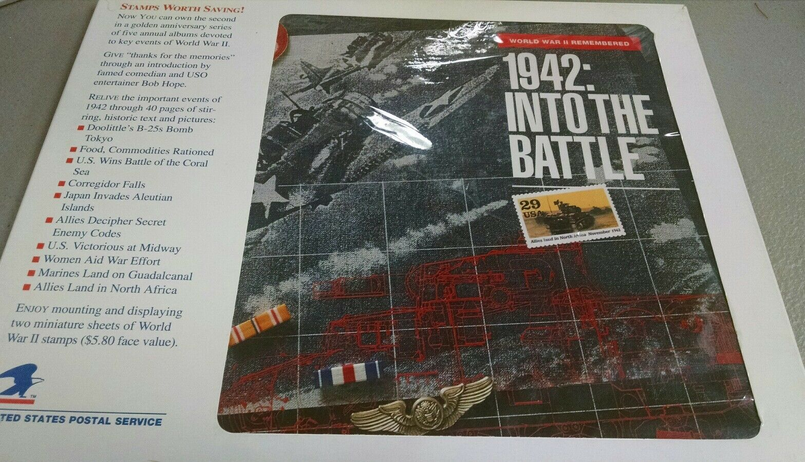 USPS WWII Remembered 1942: Into The Battle Mint Set Hard Bound Book c80