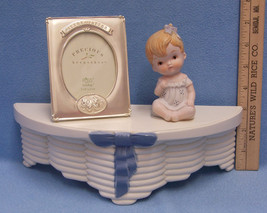 Hanging Wall Shelf Russ Baby Photo Picture Frame Child Ceramic Figurine ... - $17.81
