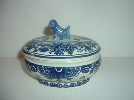 Boch Delft Belgium Oval Trinket with Dog Finial - $34.99