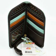 Chala Handbags Faux Leather Whimsical Sea Turtle Teal Zip Around Wristlet Wallet image 3