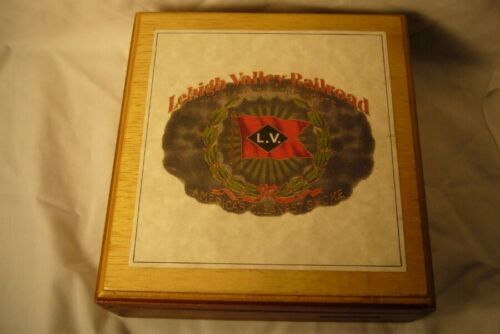 Vintage Lehigh Vailley RR Wood Cigar Box  & Band