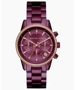 New Michael Kors Women Chronograph Ritz Plum Stainless Steel Watch MK6542 - $217.79