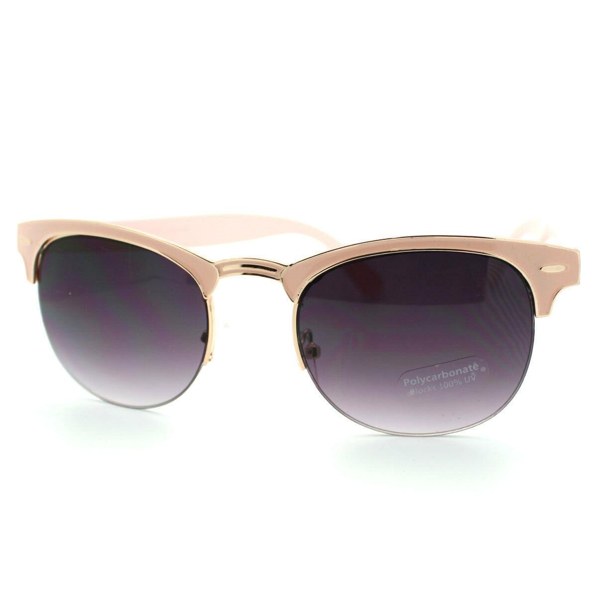 Womens Round Keyhole Sunglasses Cute Half Horn Rim Fashion Eyewear (5 Colors)