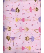 New Pink and Purple Ballerinas on Pink Flannel Fabric by the Half Yard - $3.96