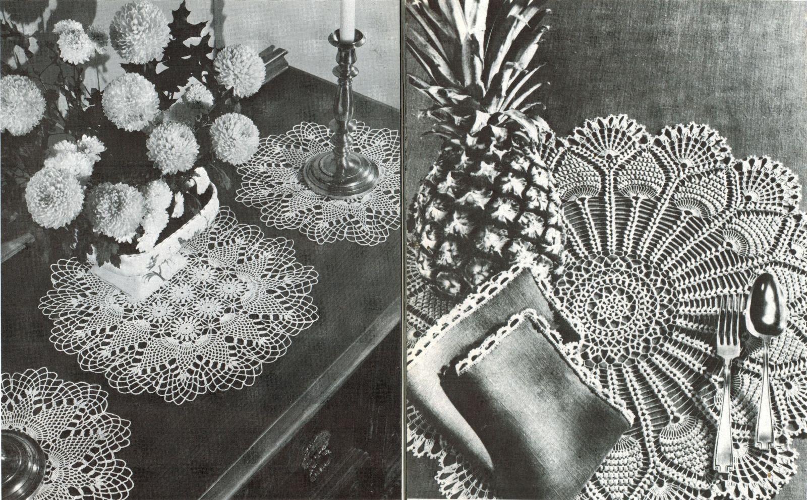 Pineapple Doilies Tablecloth Runner Luncheon Buffet Armchair Crochet Patterns  image 4