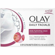 OLAY Daily Facial Cleansing Cloths, Grapeseed Extract, 33 ea (Pack of 2) - $12.86