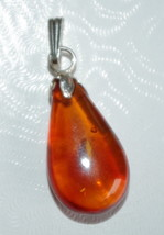 TEAR DROP TURKISH AMBER PENDENT VINTAGE GENUINE STERLING SILVER AMBER AA - $44.55
