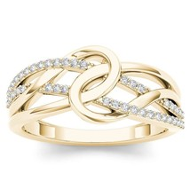 IGI Certified 14k Yellow Gold 0.17 Ct Natural Diamond Fashion Engagement... - $469.99