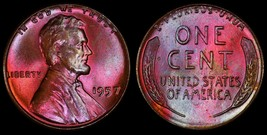1957 MS+++ RED  LINCOLN WHEAT PENNY CENT * FIRES COLORS *   . - $53.90