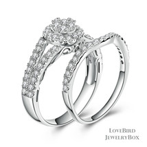 Cluster Halo Split 925 Sterling Silver Cubic Zirconia Engagement Ring Set - $53.84