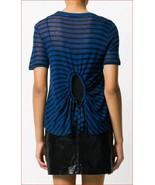 Neuf Alexander Wang Femme T-Shirt T-Shirt Chemisier 4C481115A3 Bleu Noir... - $41.96