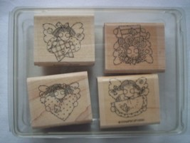 New! Stampin' Up! Angel Faces 1996 Rubber Stamps Set Of 4 - $11.99