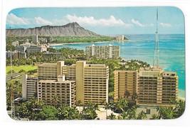 Hawaii Birdseye view Waikiki Diamond Head Hotels Honolulu Vintage Postcard - $3.99