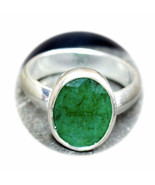 Natural Emerald Sterling Silver Ring 7 Carat Jewelry Sizes K,L,M,N,O,P,Q... - $46.33