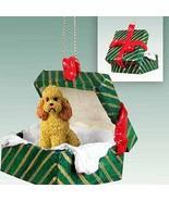 Poodle Sportcut Green Gift Box Dog Ornament - Apricot - $19.39