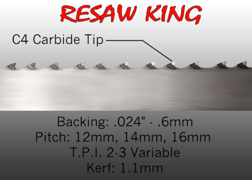 "1/2"" X 12-14-16mm Vari Tooth Pitch X 139"" Resaw King Carbide Tip Bandsaw Blade"