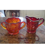 RED Carnival Glass Oversized Cream And Sugar Set - $27.71