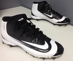 NIKE BSBL Black White Shiny Lace Up High Top Cleat Bottom Sneaker Sz 11.... - £18.51 GBP