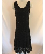 Vintage Formal Black Lace Beaded Maxi Dress Overlay Size Medium Short Sl... - $142.49