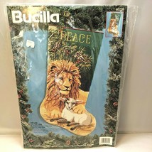 """Bucilla The Lion and the Lamb 18"""" Needlepoint Stocking By Nancy Rossi 60726 1994 - $143.49"""