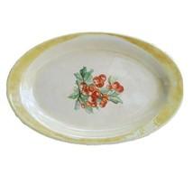 Homer Laughlin Oval Yellow Iridescent Vintage Floral Serving Platter Plate - $14.60