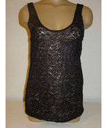 Urban Outfitters Pins and Needles black gold all lace cami tank top USA-... - $11.79