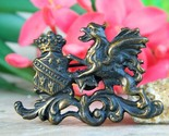 Vintage Griffin Gryphon Coat of Arms Crest Shield Brooch Pin Figural