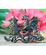 Vintage Griffin Gryphon Coat of Arms Crest Shield Brooch Pin Figural - £19.76 GBP