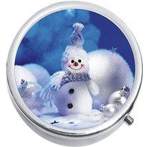 Cute Snowman Christmas Medicine Vitamin Compact Pill Box - $9.78