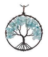 Winmaarc Tumbled Gemstone Tree of Life Pendant (Aquamarine) - $12.73