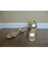 "Dune London Gold Leather Ankle Strap 1.5"" Heels With Stones Size 38 US 7.5 - $18.99"