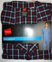 Hanes Men's Woven Pajama Set Long Sleeve & Pants Burgundy Plaid Size Small - $19.79