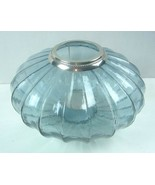 """12"""" Large Glass Candle Holder Light Blue glass Inside OR Porch area - $28.04"""