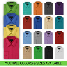 NEW Omega Italy Men's Dress Shirt Long Sleeve Solid Color Regular Fit 15 Colors