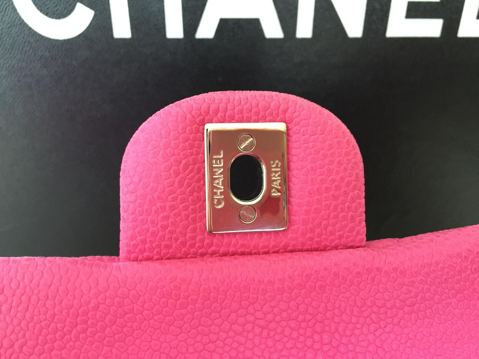 CHANEL FUSCHIA PINK CAVIAR CLUTCH ON CHAIN W/ SILVER HW