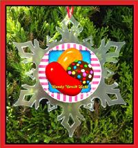 Candy Crush Christmas Ornament - X-MAS Snowflake Ornament - $12.95