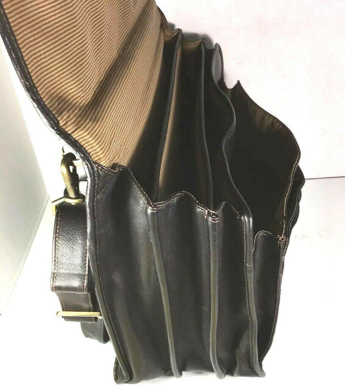 Santa Fe Dilana Vintage Dark Brown Leather Briefcase Laptop Bag – Distressed image 2